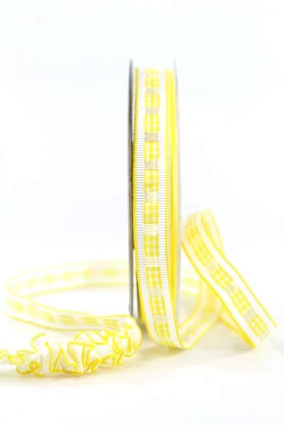 Dekoband Rips-/Satin, gelb-weiß, 15 mm breit - geschenkband-gemustert, dekoband