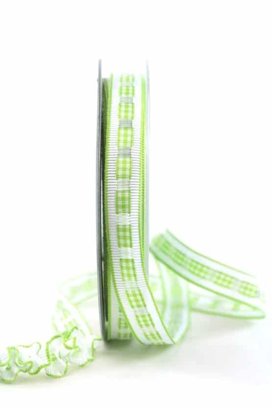 Dekoband Rips-/Satin, grün-weiß, 15 mm breit - geschenkband-gemustert, dekoband