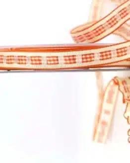 Dekoband Rips-/Satin, orange-creme, 15 mm breit - geschenkband-gemustert, dekoband