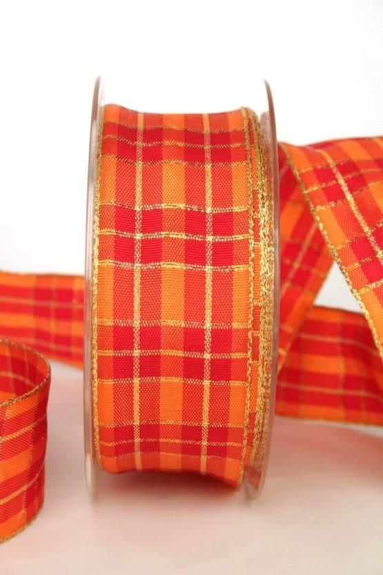 Karoband rot-orange-gold, 40 mm breit, mit Drahtkante - weihnachtsbaender, geschenkband-weihnachten-kariert, geschenkband-weihnachten