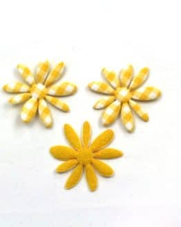 Dekoblüte gelb-kariert, 32 mm, 20 Stück - accessoires