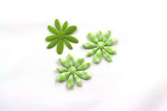 Dekoblüte grün-kariert, 32 mm, 20 Stück - accessoires