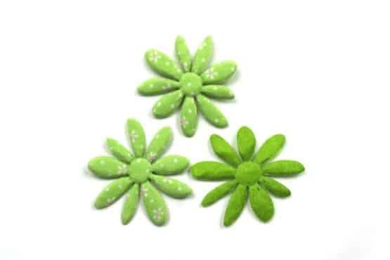 Dekoblüte grün geblümt, 52 mm, 20 Stück - accessoires