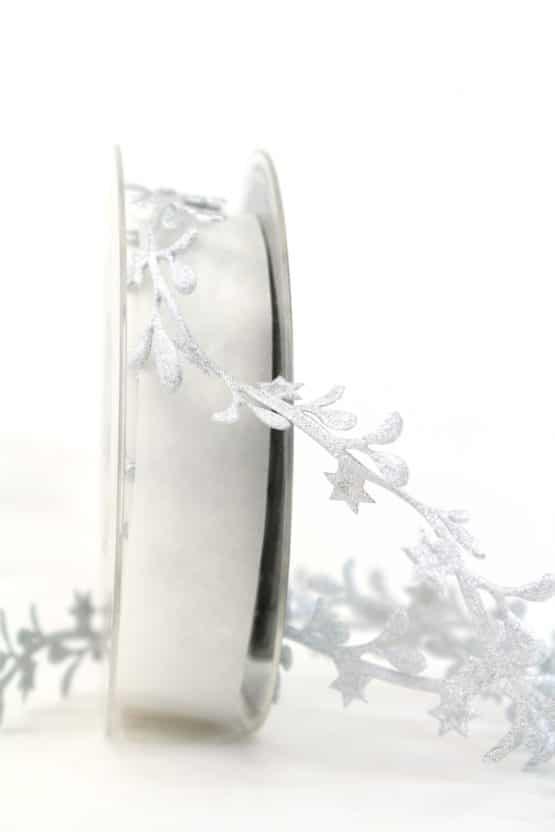 Dekogirlande Blätter, silber, 25 mm - weihnachtsbaender, geschenkband-weihnachten, dekogirlande