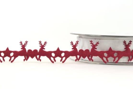 Dekogirlande Hirsche, bordeaux, 25 mm - weihnachtsbaender, geschenkband-weihnachten, dekogirlande