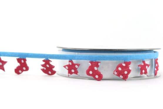 Dekogirlande blau-rot, 25 mm - weihnachtsbaender, geschenkband-weihnachten, dekogirlande
