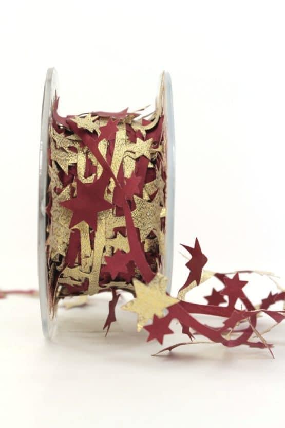 Dekolitze Sterne, zweifarbig bordeaux-gold, 40 mm - weihnachtsbaender, geschenkband-weihnachten, dekogirlande