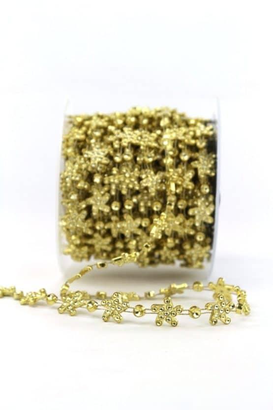 Dekorgirlande Eiskristall mit Strass gold, 14 mm breit - geschenkband-weihnachten-einfarbig, geschenkband-weihnachten