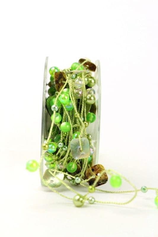 Perlengirlande grün perlmutt - geschenkband, dekogirlande, dekoband