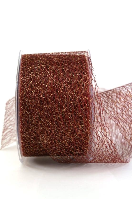 Dekogitterband, bordeaux-gold, 70 mm breit - geschenkband-weihnachten-einfarbig, geschenkband-weihnachten