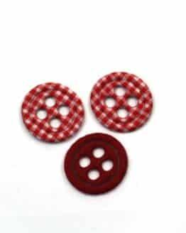 Dekoknöpfe aus Filz, rot-kariert, ca. 32 mm, 20 Stück - accessoires