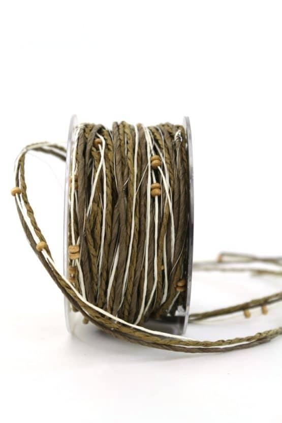 Dekokordel mit Perlen, braun-olive, 4 mm breit - dekoband