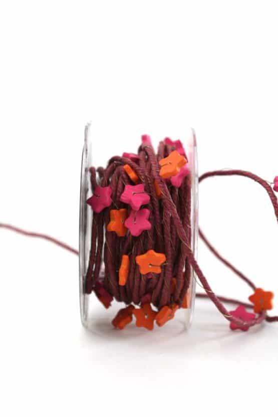 Dekordel mit Sternen, pink-orange, 10 mm breit - geschenkband-weihnachten-einfarbig, geschenkband-weihnachten