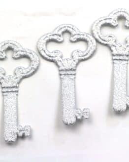 Dekoschlüssel, silber, 70 mm, 20 Stück - geschenkanhaenger, accessoires