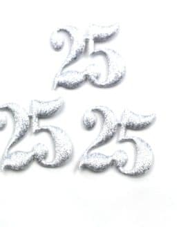 """Dekozahl """"25"""", silber, 40 mm, 20 Stück - accessoires"""