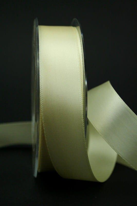 Satinband 'double face' creme, 25 mm breit - hochzeit, anlasse