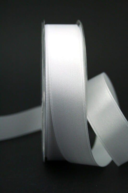 Satinband 'double face' weiß, 25 mm breit - hochzeit, anlasse