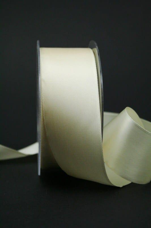 Satinband 'double face' creme, 40 mm breit - hochzeit, anlasse