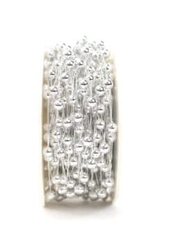 Drahtgirlande mit Perlen, silber, 5 mm - kordeln, andere-baender