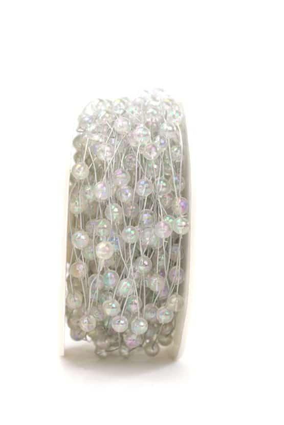 Drahtgirlande mit Perlen, klar perlmutt, 5 mm - kordeln, andere-baender