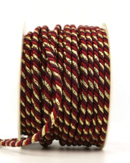 Kordel, 3-farbig rot-aubergine-gold, 4 mm stark - kordeln, andere-baender