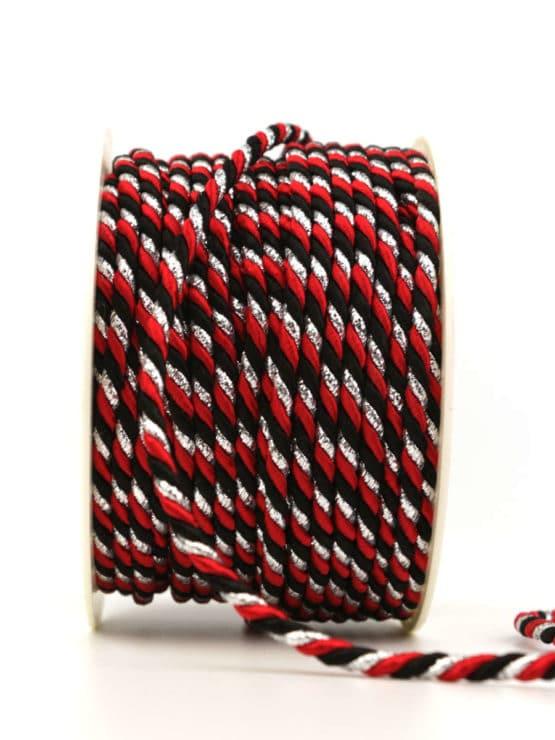 Kordel, 3-farbig rot-schwarz-silber, 4 mm stark - kordeln, andere-baender