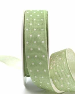 Baumwollband mit Punkten, pastellgrün, 25 mm breit - geschenkband-mit-punkten, geschenkband, geschenkband-gemustert