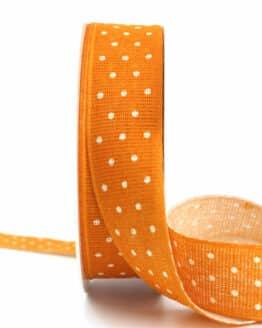 Baumwollband mit Punkten, orange, 25 mm breit - geschenkband-mit-punkten, geschenkband, geschenkband-gemustert