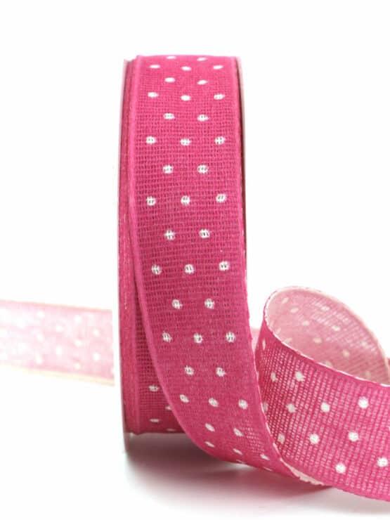 Baumwollband mit Punkten, pink, 25 mm breit - geschenkband-mit-punkten, geschenkband, geschenkband-gemustert