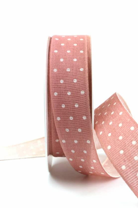 Baumwollband mit Punkten, altrosa, 25 mm breit - geschenkband-mit-punkten, geschenkband, geschenkband-gemustert