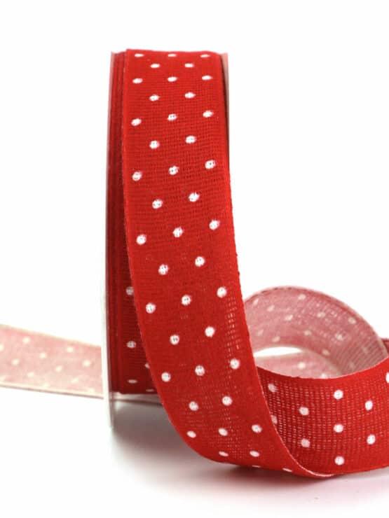Baumwollband mit Punkten, rot, 25 mm breit - geschenkband-mit-punkten, geschenkband, geschenkband-gemustert