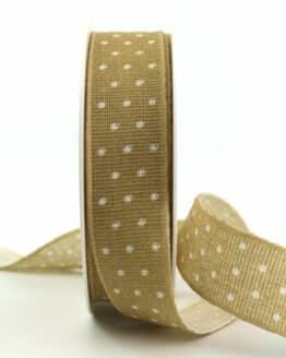 Baumwollband mit Punkten, sand, 25 mm breit - geschenkband-mit-punkten, geschenkband, geschenkband-gemustert