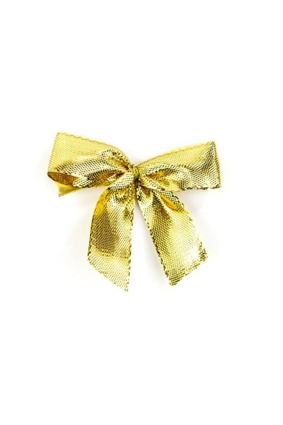 Fertigschleife aus 15 mm Lurexband, gold, mit Clip - geschenkverpackung, fertigschleifen