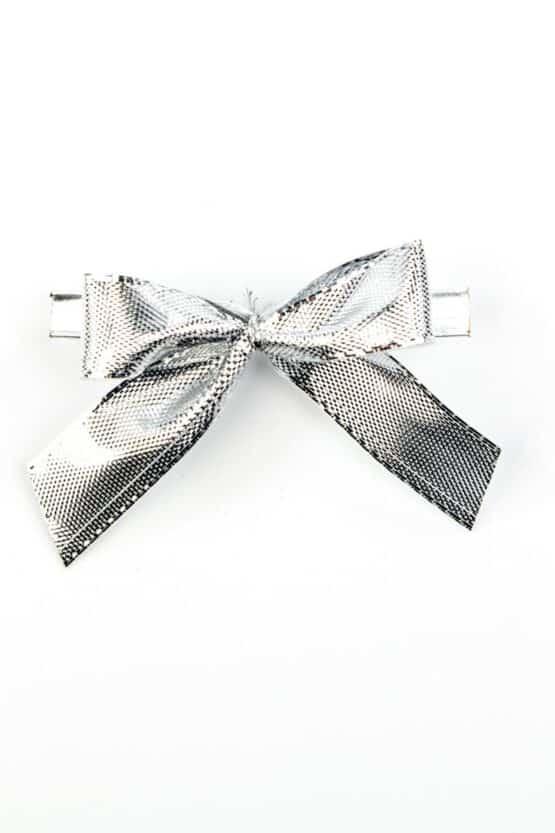 Fertigschleife aus 15 mm Lurexband, silber, mit Clip - geschenkverpackung, fertigschleifen