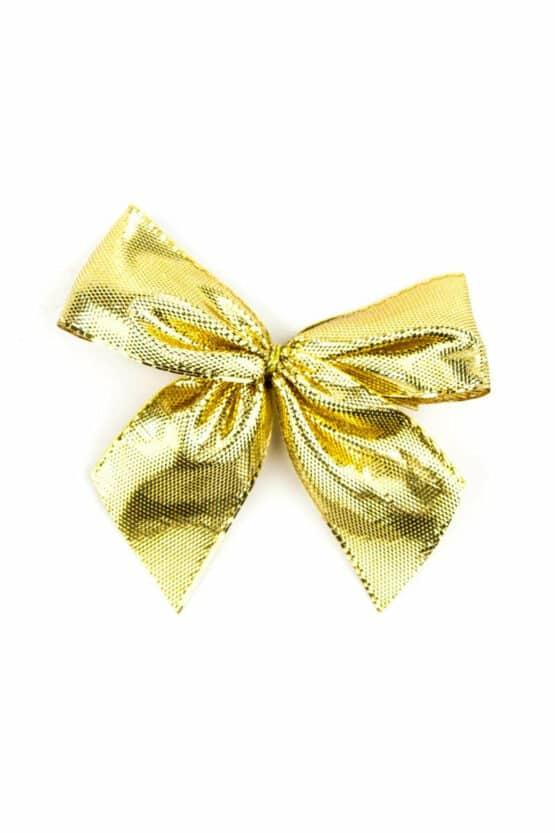 Fertigschleife aus 25 mm Lurexband, gold, mit Clip - geschenkverpackung, fertigschleifen