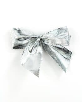 Fertigschleife aus 25 mm Lurexband, silber, mit Clip - geschenkverpackung, fertigschleifen