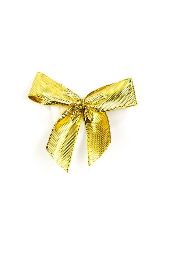 Fertigschleife aus 15 mm Lurexband, gold, mit Klebepunkt - geschenkverpackung, fertigschleifen