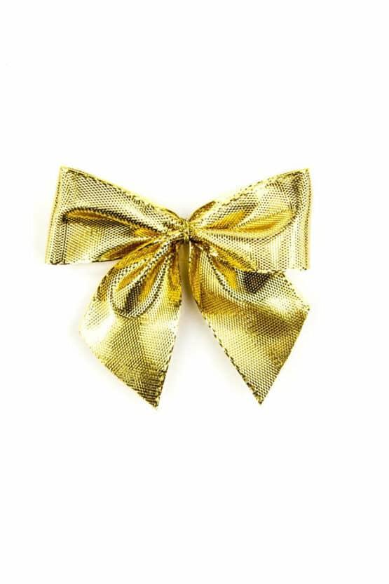 Fertigschleife aus 25 mm Lurexband, gold, mit Klebepunkt - geschenkverpackung, fertigschleifen