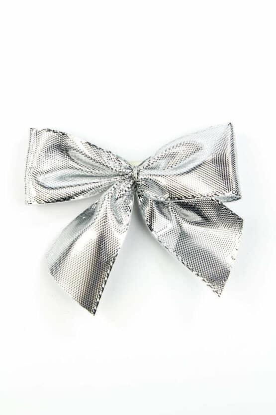 Fertigschleife aus 25 mm Lurexband, silber, mit Klebepunkt - geschenkverpackung, fertigschleifen