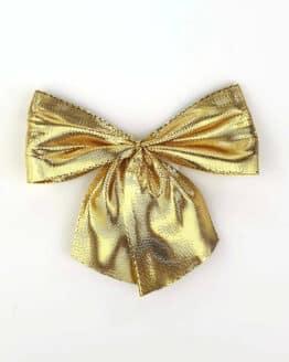 Fertigschleife aus 40 mm Lurexband, gold, mit Clip - geschenkverpackung, fertigschleifen