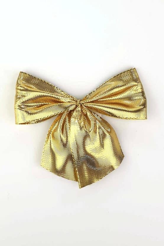 Fertigschleife aus 40 mm Lurexband, gold, mit Klebepunkt - geschenkverpackung, fertigschleifen