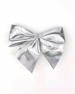 Fertigschleife aus 40 mm Lurexband, silber, mit Clip - geschenkverpackung, fertigschleifen