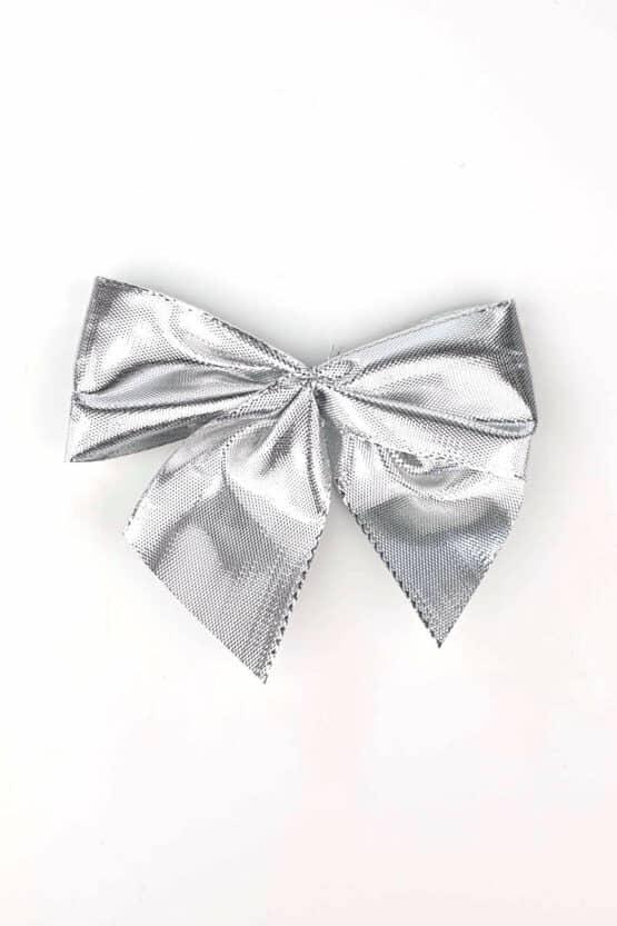 Fertigschleife aus 40 mm Lurexband, silber, mit Klebepunkt - geschenkverpackung, fertigschleifen