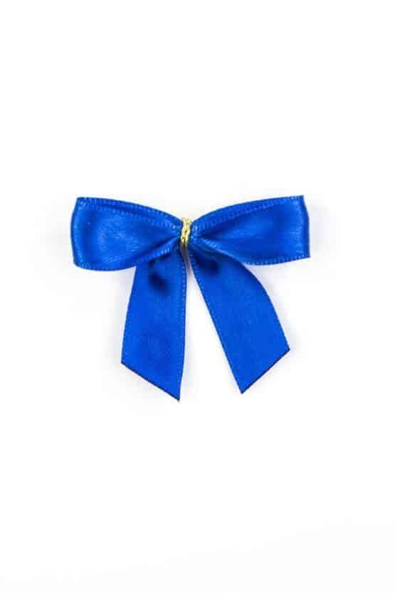 Fertigschleife aus 15 mm Satinband, blau, mit Clip - geschenkverpackung, fertigschleifen