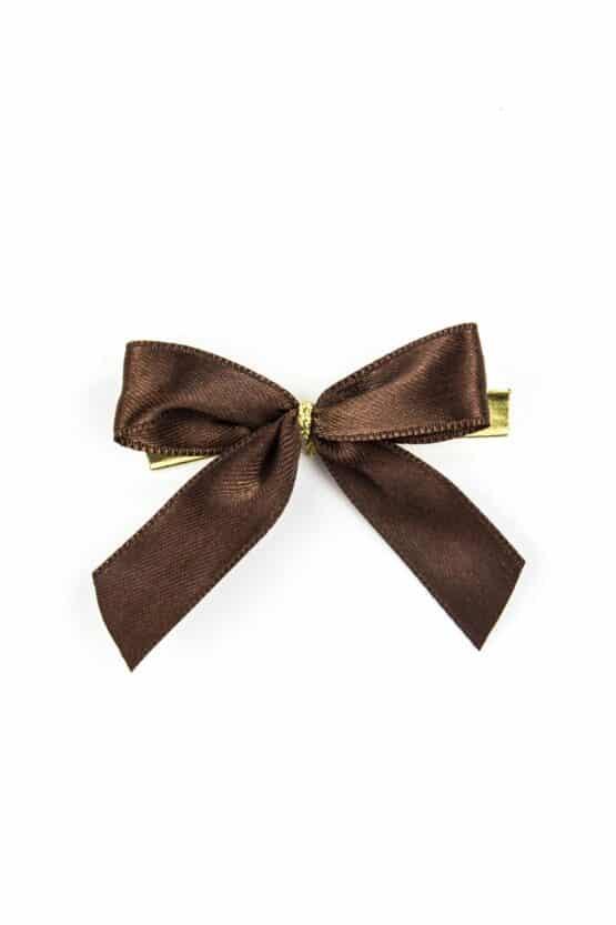 Fertigschleife aus 15 mm Satinband, braun, mit Clip - geschenkverpackung, fertigschleifen