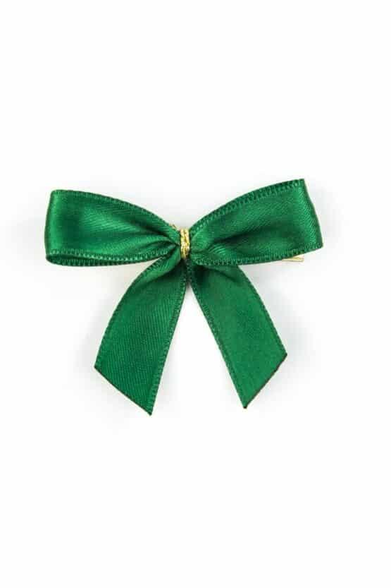 Fertigschleife aus 15 mm Satinband, dunkelgrün, mit Clip - geschenkverpackung, fertigschleifen