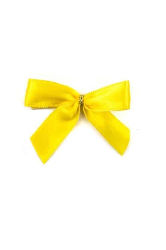 Fertigschleife aus 15 mm Satinband, gelb, mit Clip - geschenkverpackung, fertigschleifen