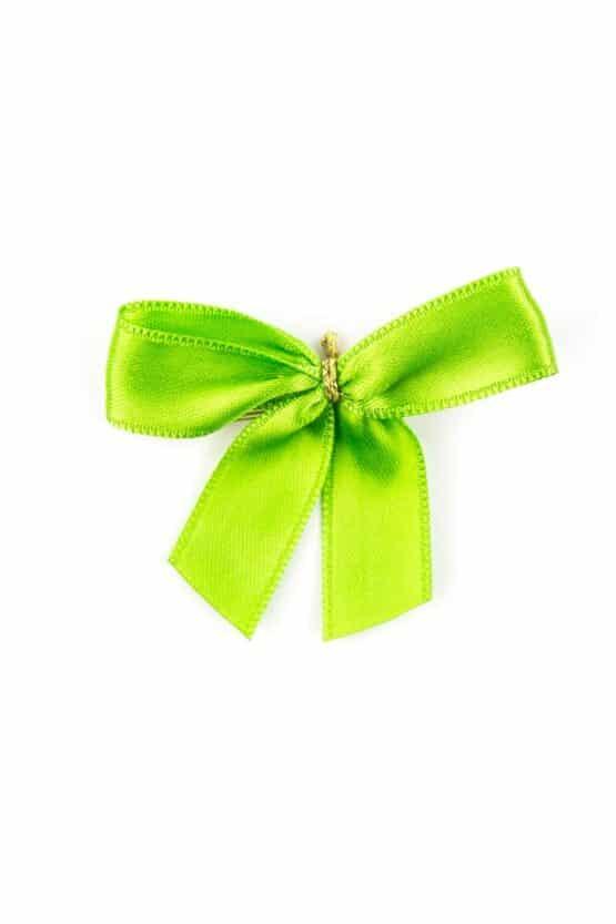 Fertigschleife aus 15 mm Satinband, grün, mit Clip - geschenkverpackung, fertigschleifen