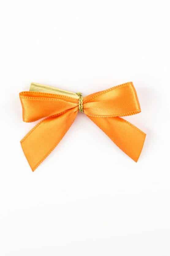 Fertigschleife aus 15 mm Satinband, orange, mit Clip - geschenkverpackung, fertigschleifen