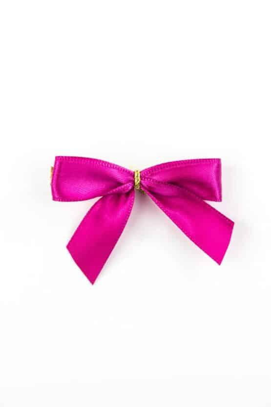 Fertigschleife aus 15 mm Satinband, pink, mit Clip - geschenkverpackung, fertigschleifen